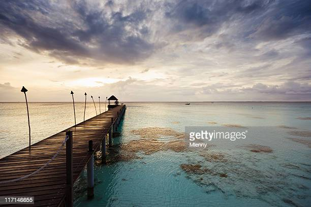 Fakarava French Polynesia Sunset at Jetty