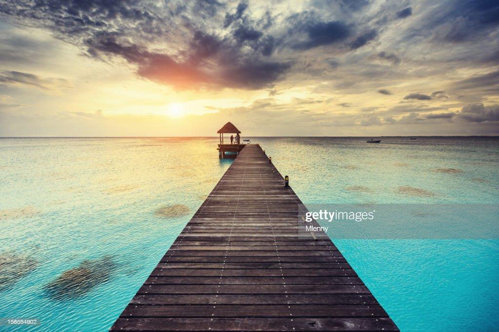 Fakarava Sunset at Jetty French Polynesia : Stock Photo