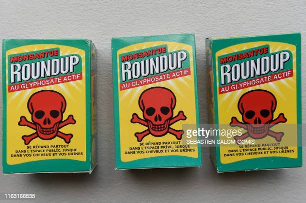 Fake bottles of weedkiller Roundup are displayed during a demonstration in support of the mayor of Langouet Daniel Cueff sued for having banned...