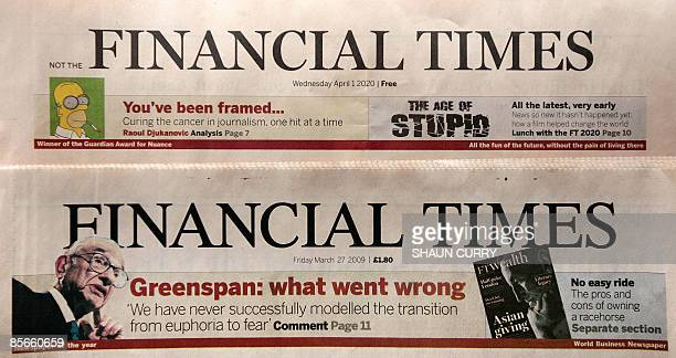 A fake copy of the Financial Times and a genuine copy of the FT are pictured in central London on March 27 2009 Critics of next week's G20 summit...