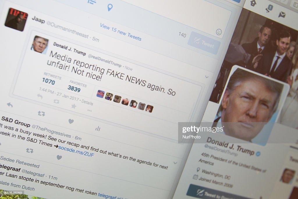 Fake Donald Trump tweets from China : News Photo