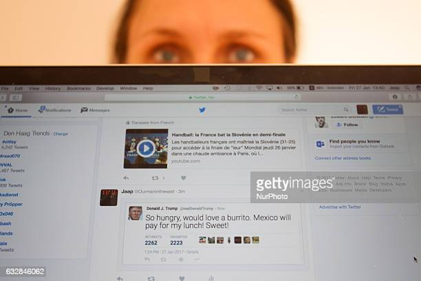 Fake Donald Trump tweets are seen in a Twitter timeline on 27 Friday 2017 In China a site that generates fake tweets that look as if they were...