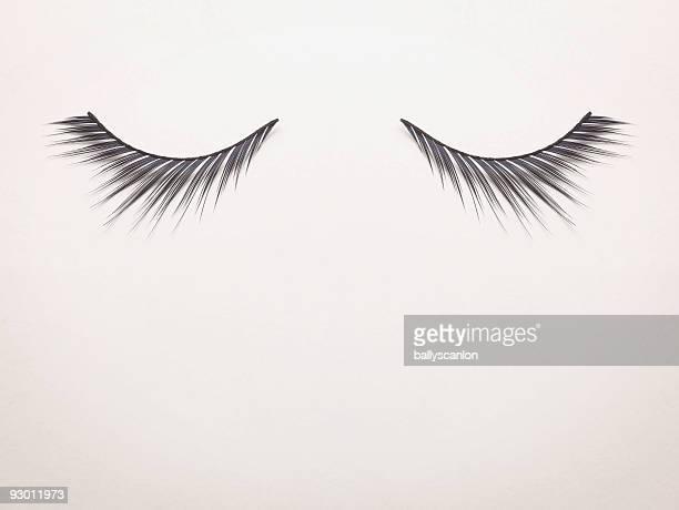 Fake Eyelashes on White Background.