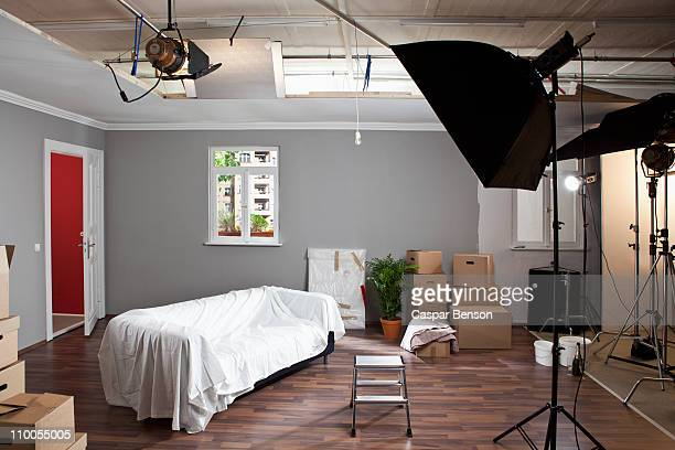 a fake living room in a production studio - film set stock pictures, royalty-free photos & images