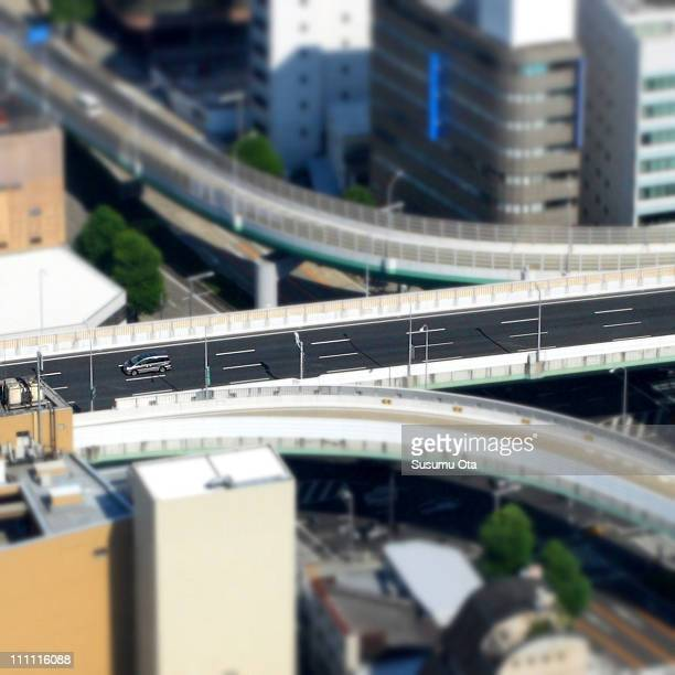 Fake Miniature Highway and a Car