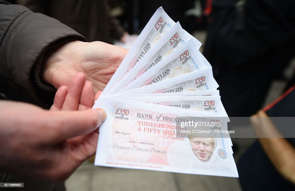 Fake money with the face of Foreign Secretary Boris Johnson on it at the launch of the Brexit 'Facts Bus' in Great College Street, London, before it starts a national 8 day tour.