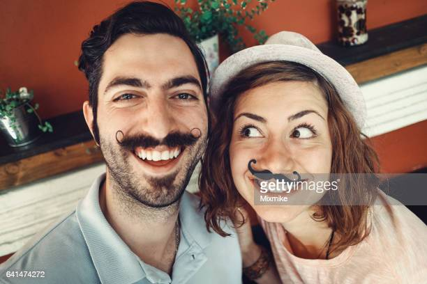 Fake mustache selfie