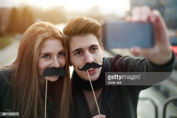 Fake mustaches selfie