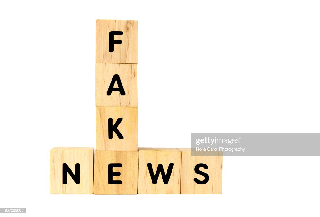 Fake News Text on Wooden Blocks on White Background : Stock Photo