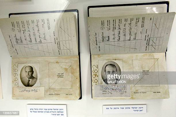 Fake passports one used by an Israeli Mossad agent and another one manufactured to fly Adolf Eichmann out of Argentina are displayed in an...