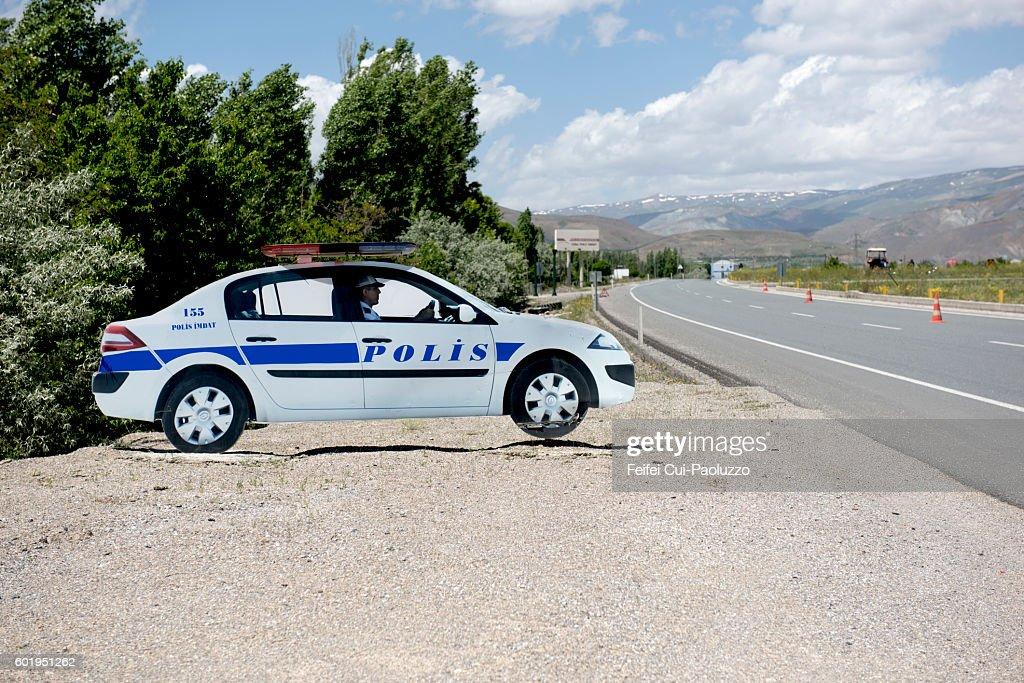 Fake Police Car Imitation At Roadside Near Erzincan Stock Photo