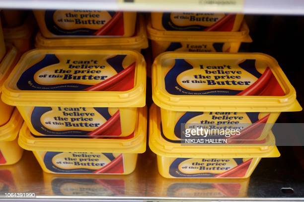 Fake postBrexit margarine is pictured in the 'Costupper Brexit Minimart' a postBrexit inspired popup shop selling items with antiBrexit themed labels...