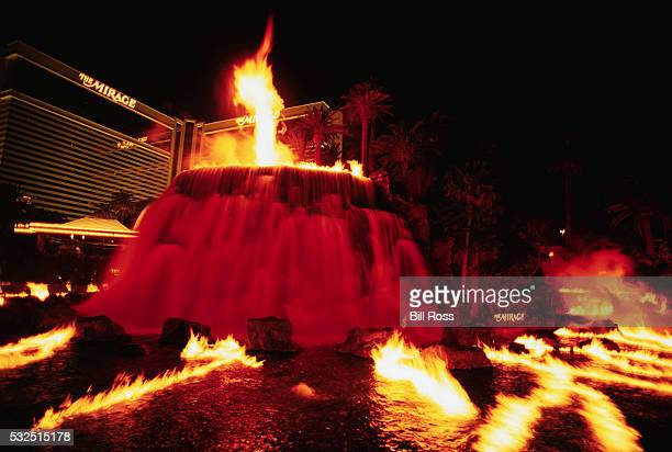 fake volcano and flames at the mirage hotel - mirage hotel stock pictures, royalty-free photos & images