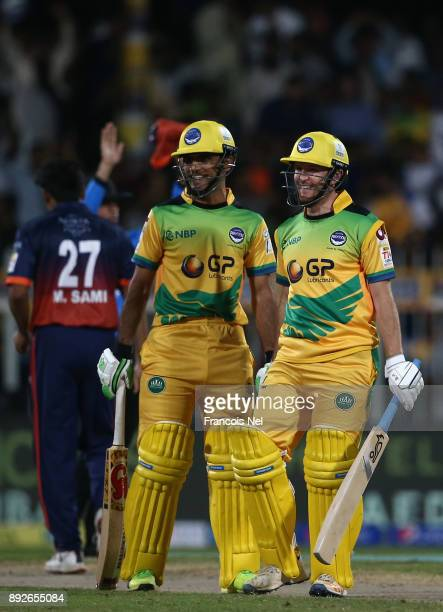 Fakhar Zaman and Liam Dawson during the T10 League match between Maratha Arabians and Pakhtoons at Sharjah Cricket Stadium on December 14 2017 in...