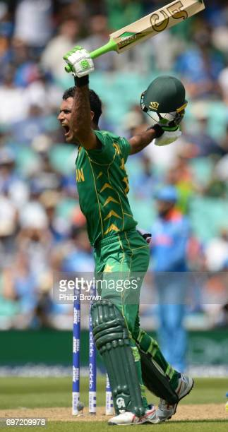 Fakhar Zaman celebrates reaching his century during the ICC Champions Trophy final match between India and Pakistan at the Kia Oval cricket ground on...