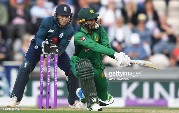 Fakhar Zaman gets a lodged in his helmet whilst batting during the second One Day International between England and Pakistan at The Ageas Bowl on May...