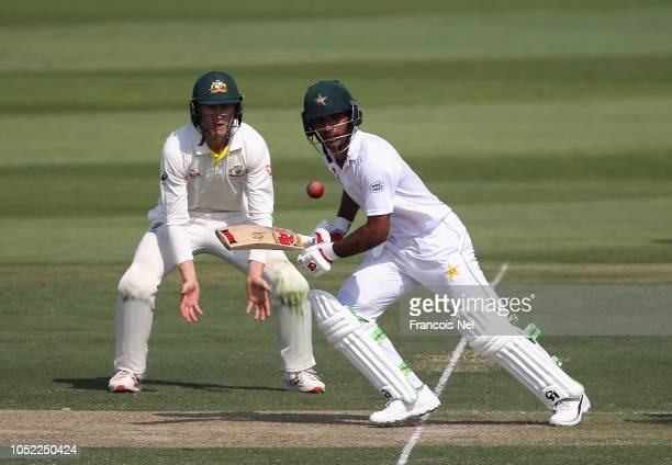 Fakhar Zaman of Pakistan bats during day one of the Second Test match between Australia and Pakistan at Sheikh Zayed stadium on October 16 2018 in...