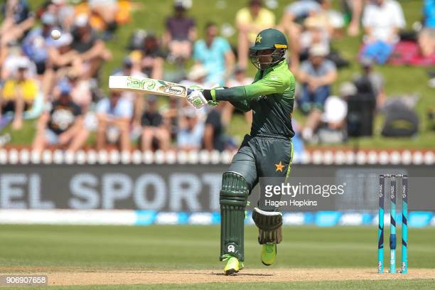 Fakhar Zaman of Pakistan bats during game five of the One Day International Series between New Zealand and Pakistan at Basin Reserve on January 19...