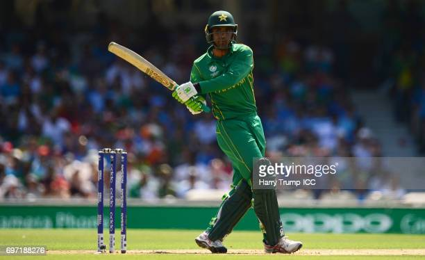 Fakhar Zaman of Pakistan bats during the ICC Champions Trophy Final match between India and Pakistan at The Kia Oval on June 18 2017 in London England