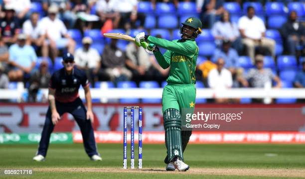 Fakhar Zaman of Pakistan bats during the ICC Champions Trophy Semi Final between England and Pakistan at SWALEC Stadium on June 14 2017 in Cardiff...