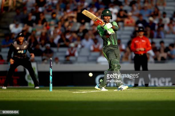 Fakhar Zaman of Pakistan bats during the International Twenty20 match between New Zealand and Pakistan at Eden Park on January 25 2018 in Auckland...