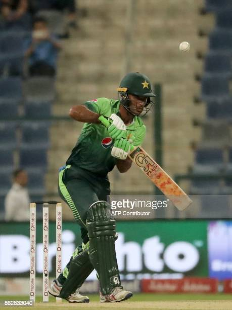 Fakhar Zaman of Pakistan bats during the third one day international match between Pakistan and Sri Lanka in Abu Dhabi at Zayed Cricket Stadium on...