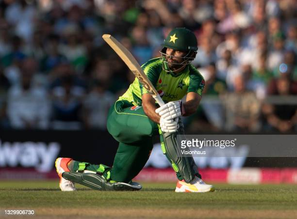Fakhar Zaman of Pakistan batting during the 3rd T20I between England and Pakistan at Emirates Old Trafford on July 20, 2021 in Manchester, England.