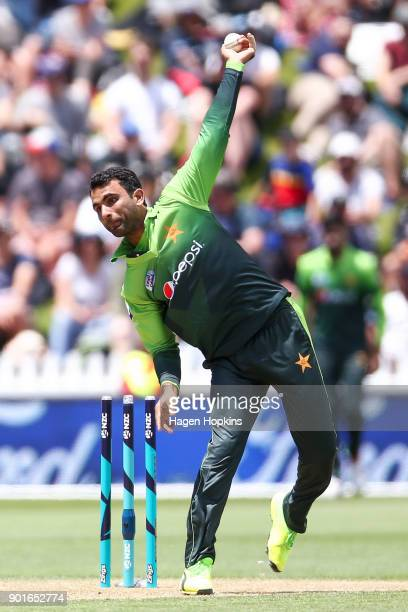 Fakhar Zaman of Pakistan bowls during game one of the One Day International Series between the New Zealand Black Caps and Pakistan at Basin Reserve...
