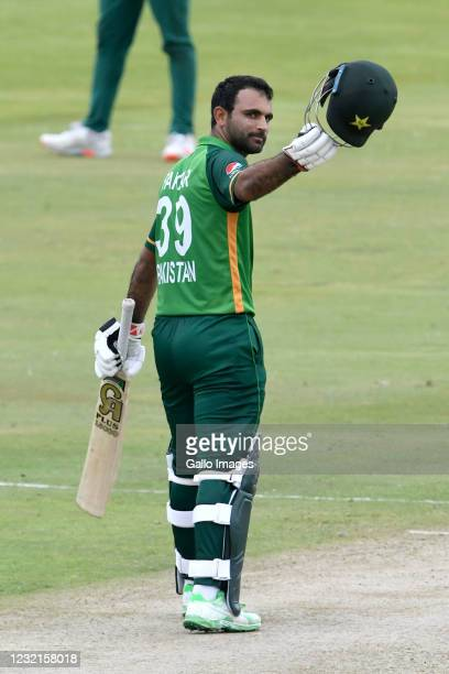 Fakhar Zaman of Pakistan celebrates his 100 runs during the 3rd Betway ODI between South Africa and Pakistan at SuperSport Park on April 07, 2021 in...