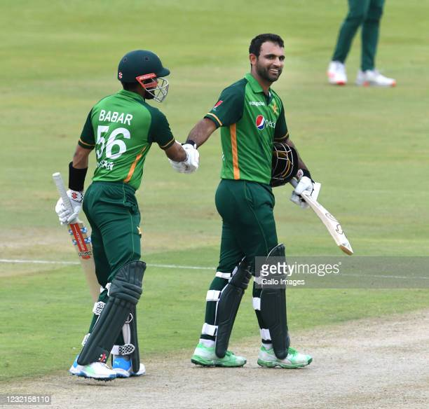 Fakhar Zaman of Pakistan celebrates his 100 runs with Babar Azam of Pakistan during the 3rd Betway ODI between South Africa and Pakistan at...