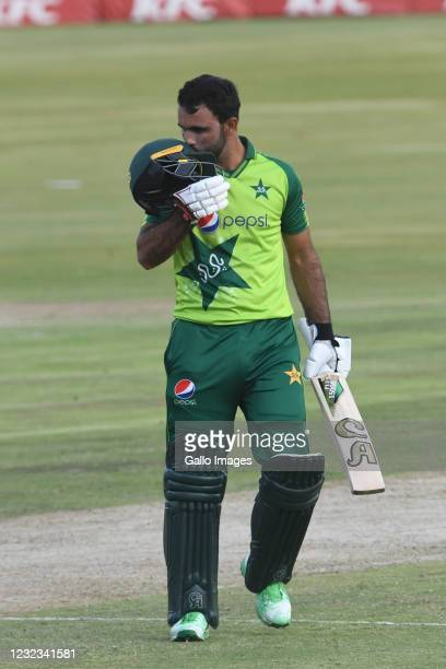 Fakhar Zaman of Pakistan celebrates his 50 runs during the 4th KFC T20 International match between South Africa and Pakistan at SuperSport Park on...