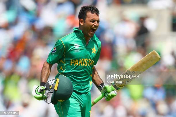 Fakhar Zaman of Pakistan celebrates his century during the ICC Champions trophy cricket match between India and Pakistan at The Oval in London on...