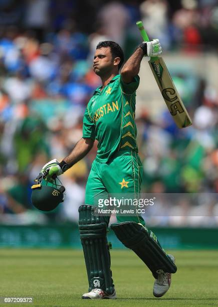 Fakhar Zaman of Pakistan celebrates his century during the ICC Champions Trophy Final between Pakistan and India at The Kia Oval on June 18 2017 in...