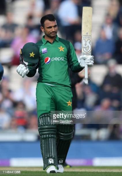 Fakhar Zaman of Pakistan celebrates his century during the second One Day International between England and Pakistan at The Ageas Bowl on May 11 2019...