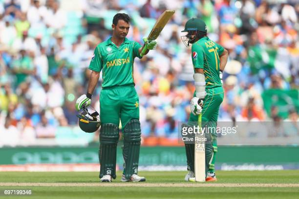 Fakhar Zaman of Pakistan celebrates his half century during the ICC Champions trophy cricket match between India and Pakistan at The Oval in London...