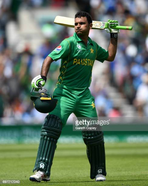 Fakhar Zaman of Pakistan celebrates reaching his century during the ICC Champions Trophy Final between India and Pakistan at The Kia Oval on June 18...