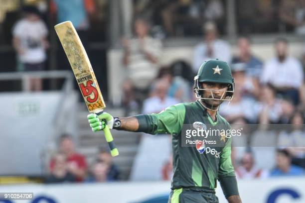 Fakhar Zaman of Pakistan celebrates scoring 50 runs during the Twenty20 series between New Zealand and Pakistan at Eden Park Pakistan win by 48 runs