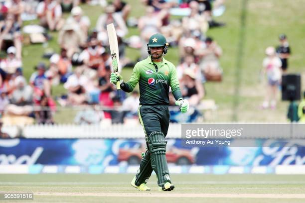 Fakhar Zaman of Pakistan celebrates scoring a half century during game four of the One Day International Series between New Zealand and Pakistan at...