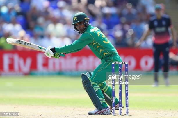 Fakhar Zaman of Pakistan cuts past point during the ICC Champions Trophy SemiFinal match between England and Pakistan at the SWALEC Stadium on June...