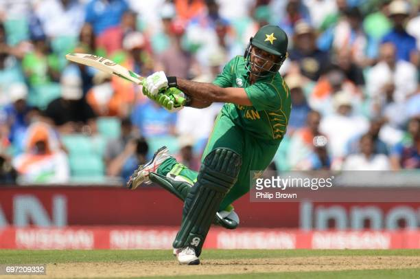 Fakhar Zaman of Pakistan hits a six during the ICC Champions Trophy final match between India and Pakistan at the Kia Oval cricket ground on June 18...