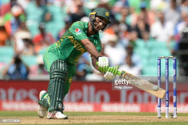Fakhar Zaman of Pakistan hits out during the ICC Champions Trophy final match between India and Pakistan at the Kia Oval cricket ground on June 18...