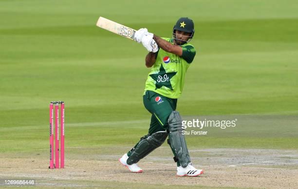 Fakhar Zaman of Pakistan hits runs during the 2nd Vitality International Twenty20 match between England and Pakistan at Emirates Old Trafford on...