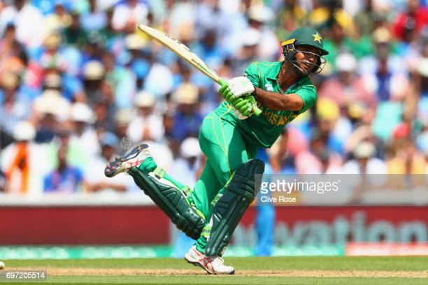 Fakhar Zaman of Pakistan in action during the ICC Champions trophy cricket match between India and Pakistan at The Oval in London on June 18 2017