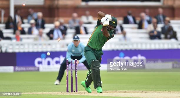 Fakhar Zaman of Pakistan is bowled by Craig Overton of England during the 2nd Royal London Series One Day International match between England and...