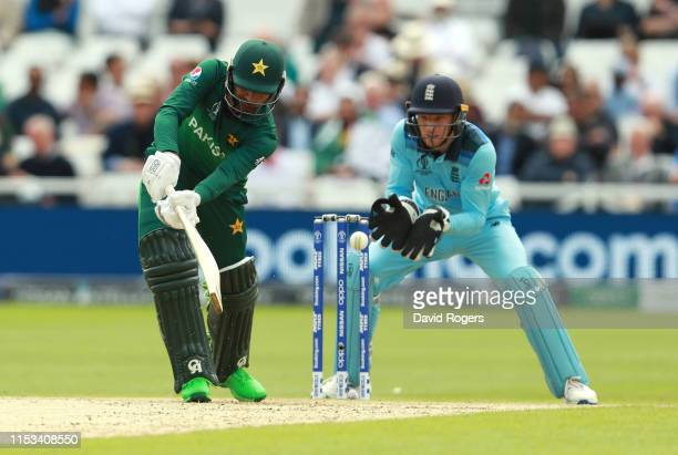 Fakhar Zaman of Pakistan is stumped by Jos Buttler during the Group Stage match of the ICC Cricket World Cup 2019 between England and Pakistan at...