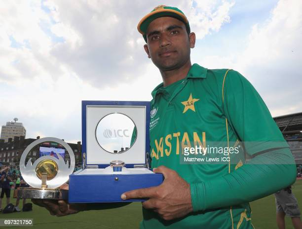 Fakhar Zaman of Pakistan pictured with the 'Player of the Match' award after the ICC Champions Trophy Final between Pakistan and India at The Kia...