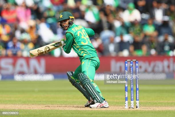 Fakhar Zaman of Pakistan plays to the offside during the ICC Champions Trophy match between Sri Lanka and Pakistan at the SWALEC Stadium on June 12...