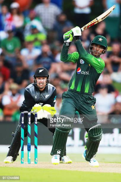 Fakhar Zaman of Pakistan pulls the ball away for four runs during game three of the International Twenty20 match between New Zealand and Pakistan at...