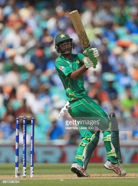 Fakhar Zaman of Pakistan pulls the ball towards the boundary during the ICC Champions Trophy Final between Pakistan and India at The Kia Oval on June...