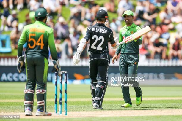 Fakhar Zaman of Pakistan returns the bat of Kane Williamson of New Zealand after dropping it while batting during game five of the One Day...